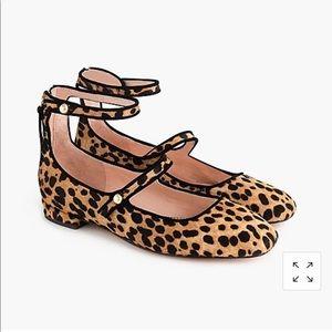 JCrew Poppy 2-strap Ballet Flats Leopard Calfhair